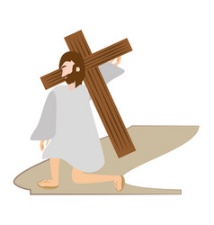 Jesus christ falls first time - via crucis station vector