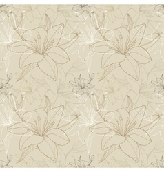 Lily line in beige color seamless pattern vector