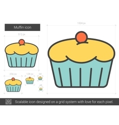 Muffin line icon vector