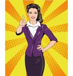 Pop art retro style woman showing thumb up hand vector image vector image