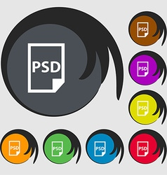 Psd icon sign symbols on eight colored buttons vector