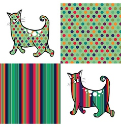Retro style cats and backgrounds vector image vector image