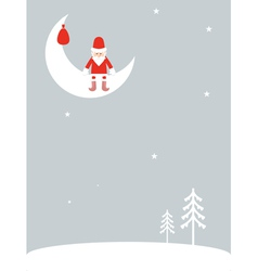 Santa Claus on the moon vector image