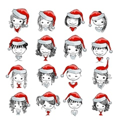 Santa girl collection sketch for your design vector image vector image