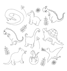 Set of doodle dinosaur vector image