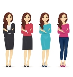 Set of wman in different clothes vector image vector image