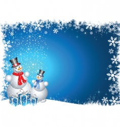 snowmen with Christmas gifts vector image