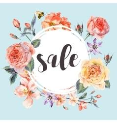 Spring vintage floral sale card vector