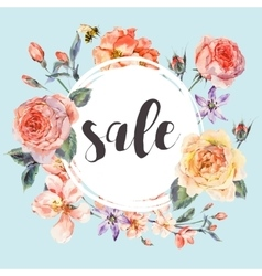 spring vintage floral sale card vector image vector image