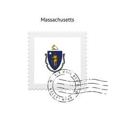 State of massachusetts flag postage stamp vector