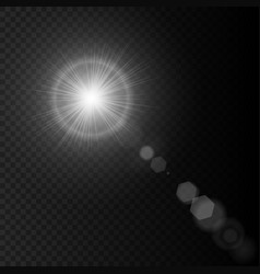 Summer sun lens flare with realistic light lens vector