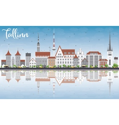 Tallinn Skyline with Gray Buildings vector image