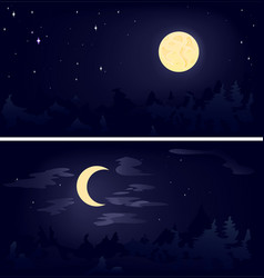 Two phases of the moon vector