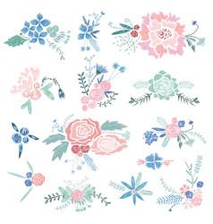 vintage floral vignettes vector image vector image