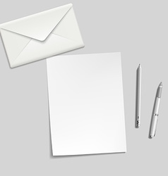 white sheet envelope pen and pencil on the table vector image vector image