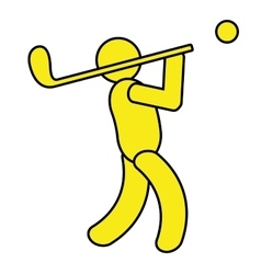 yellow avatar an playing golf graphic vector image