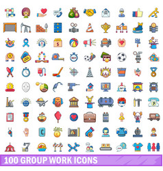 100 group work icons set cartoon style vector