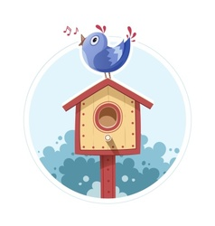 Bird sit and sing on nesting vector image