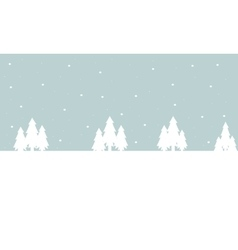 Winter tree christmas landscape of silhouette vector