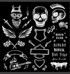 Bikers doodles set hand drawn design elements vector