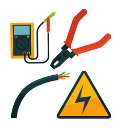 Pliers near electric rope and warning sign set on vector