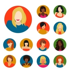 Set of female portraits vector