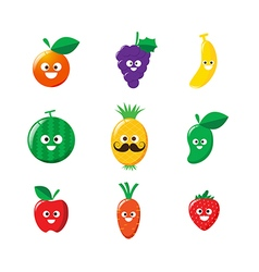 Collection of happy fruit cartoon icon vector