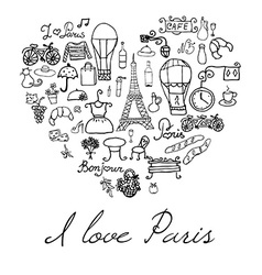Paris doodles elements hand drawn set withefel vector