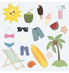 Vacation icon set vector