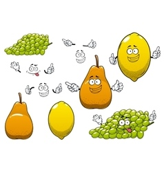Lemon green grape and pear fruits vector