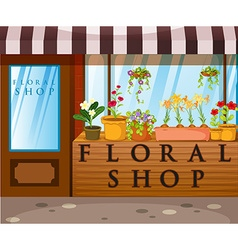 Floral shop with beautiful flowers in front vector