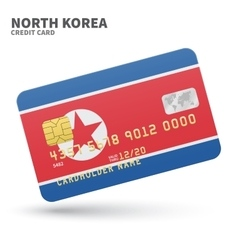 Credit card with north korea flag background for vector
