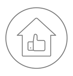 Thumb up in house line icon vector image