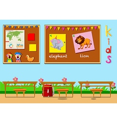 Classroom with boards and chairs vector