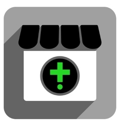 Drugstore flat square icon with long shadow vector