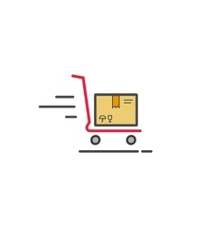 Fast delivery cart with parcel box icon vector