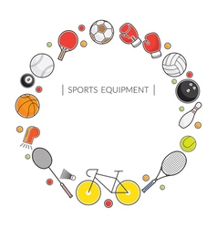 Sports Equipment Line Icons Frame vector image