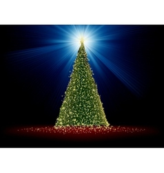 Abstract green christmas tree on red EPS 8 vector image vector image