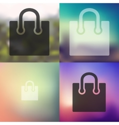 Bag icon on blurred background vector
