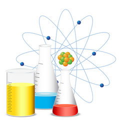 beakers filled with colorful liquid vector image