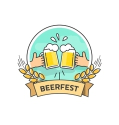 Beer festival label isolated beerfest logo vector image vector image