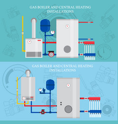 Boiler and central heating installations flat vector