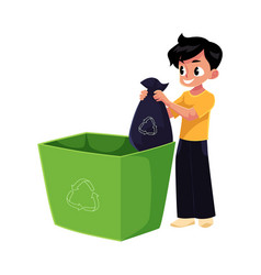 Boy putting garbage bag into trash bin waste vector
