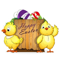 Chickens and easter eggs vector