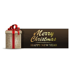 Christmas banner with gift box vector