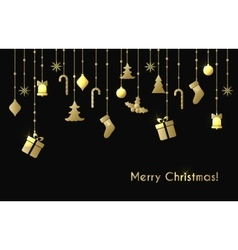 Christmas greeting card with gold christmas toys vector image vector image