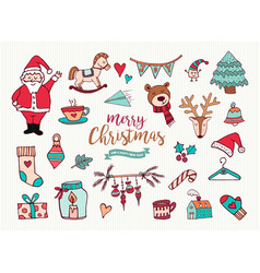 christmas new year cute doodle cartoon collection vector image vector image