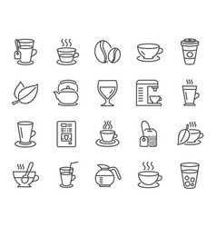 Coffee and tea line icons teapot coffeepot vector
