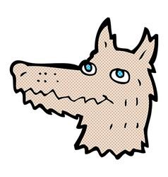 Comic cartoon wolf head vector