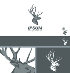 Deer stag head sign drawn vintage branding design vector